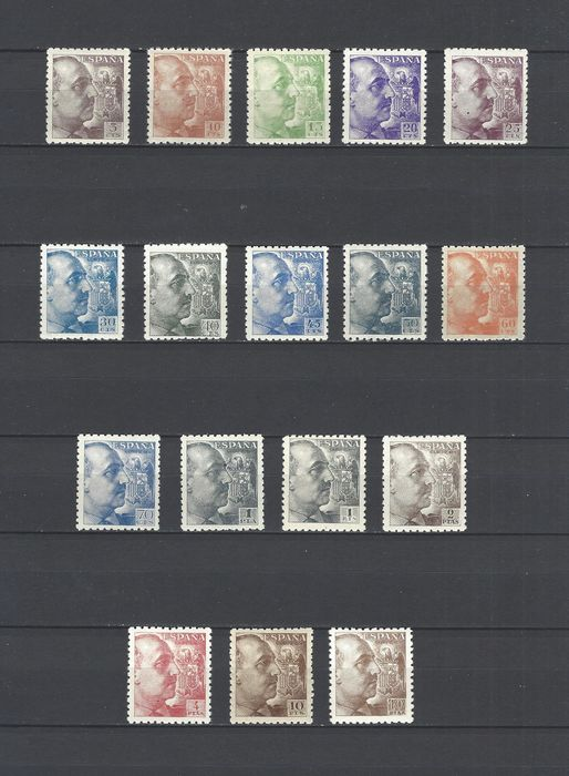 Spagna 1940/1945 - Franco, coarse perforation, well centred - Edifil 919/35