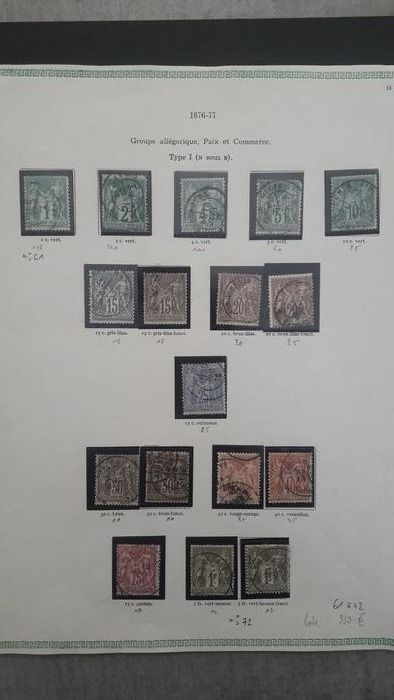 Francia 1876/1878 - Series, Type Sage, Type I of YT 61 to 72. - Yvert Edition 2021