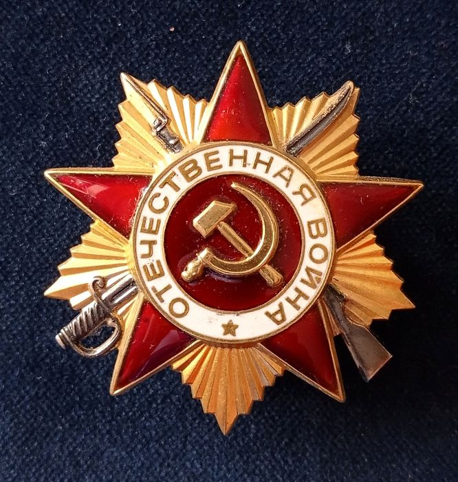 Russia - Army/Infantry - Soviet Sterling Silver Order of the Patriotic War 1 Class in LUX state.