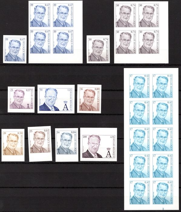 Belgio 2001/2000 - Small lot of imperforate stamps - OBP / COB 90,00 €