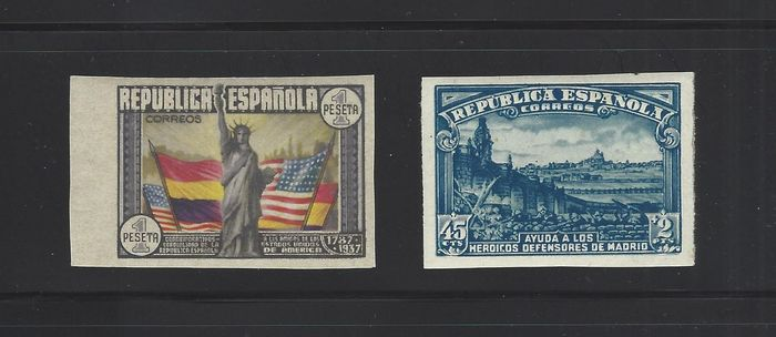 Spagna 1938 - USA Constitution and Siege of Madrid imperforated stamps - Edifil 757s + 763s