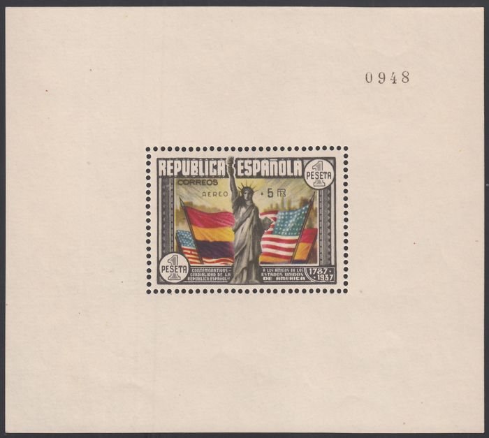 Spanje 1938 - Anniversary of the USA Constitution, overprinted 'CORREO AÉREO + 5 PTS' COMEX certificate - Edifil 764