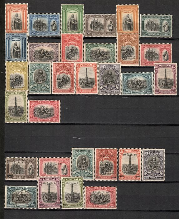 Portugal 1926/1926 - Independence series 1st Issue and with surcharge. - Mundifil Nº 361 a 381 e 386 a 395