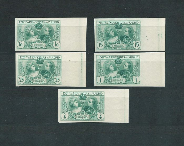 Spagna 1907 - Madrid Industries exhibition with shifted colours, imperforated - Edifil SR 1-2-3-5-6