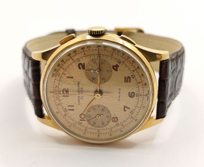 """Chronographe Suisse - Bi-Compax Chronograph """"Tropical Dial"""" Yellow Gold 18kt - Uomo - 1960-1969"""