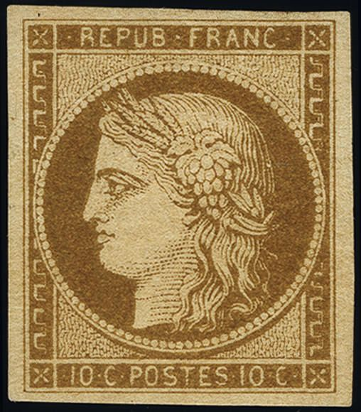 Francia 1850 - Ceres imperforate, 10 centimes bistre-yellow. - Yvert 1