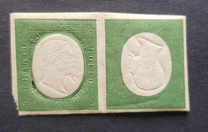 Italienische antike Staaten - Sardinien 1854 - 3rd issue, pair of 5 cents and inverted effigy only, very rare variety, double certificate - Sassone NN. 10, 10ea