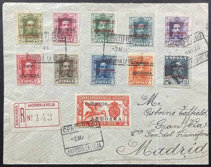 Andorra - Spaans 1928 - Letter to Madrid with interesting franking - Michel aus Nr. 1 bis 13