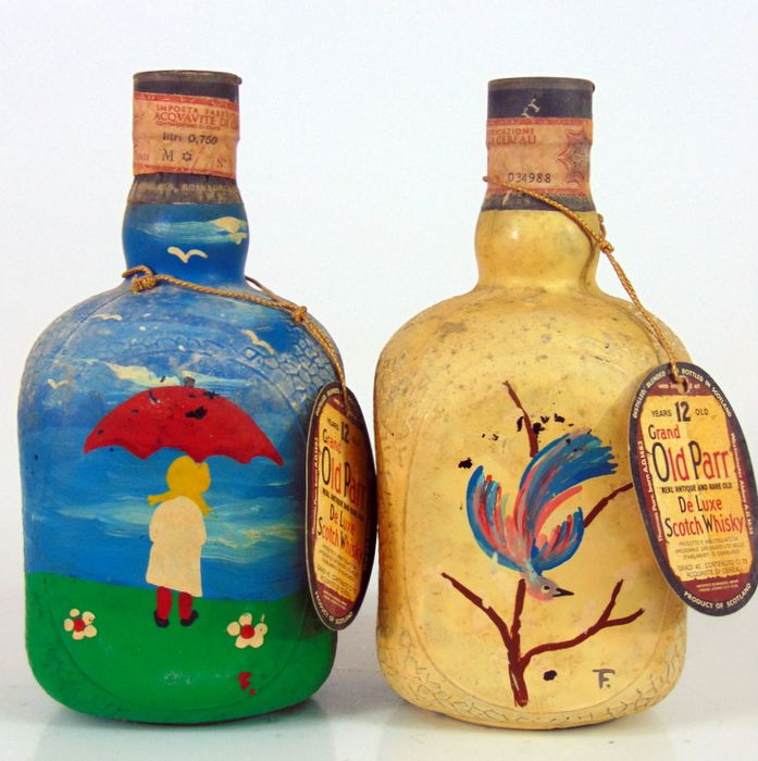 Old Parr 12 years old 'Hand painted' - b. anii `70 - 75 cl - 2 sticle
