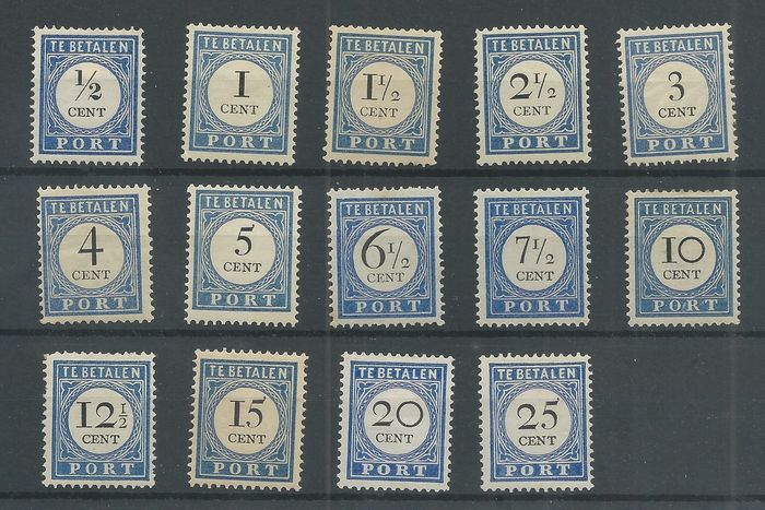 Paesi Bassi 1894/1910 - Postage due 'Numeral and denomination in black' - NVPH P13/P26