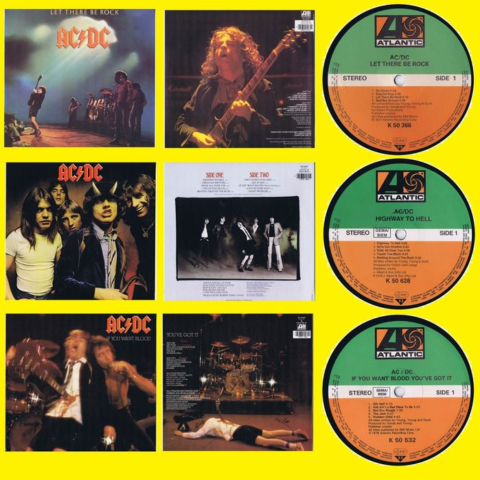 AC/DC - 1. Let There Be Rock 2. If You Want Blood 3. Highway To Hell - 多個標題 - LP's - 1977/1979