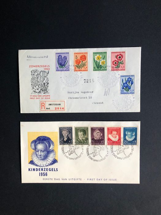 Paesi Bassi 1953/1956 - FDCs Children's Aid stamps and Summer stamps - NVPH E13 + E28