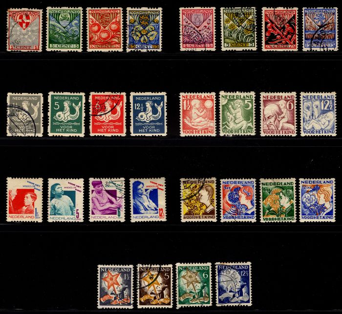 Paesi Bassi 1926/1933 - Syncopated Children's Aid stamps, seven complete series R74/R101