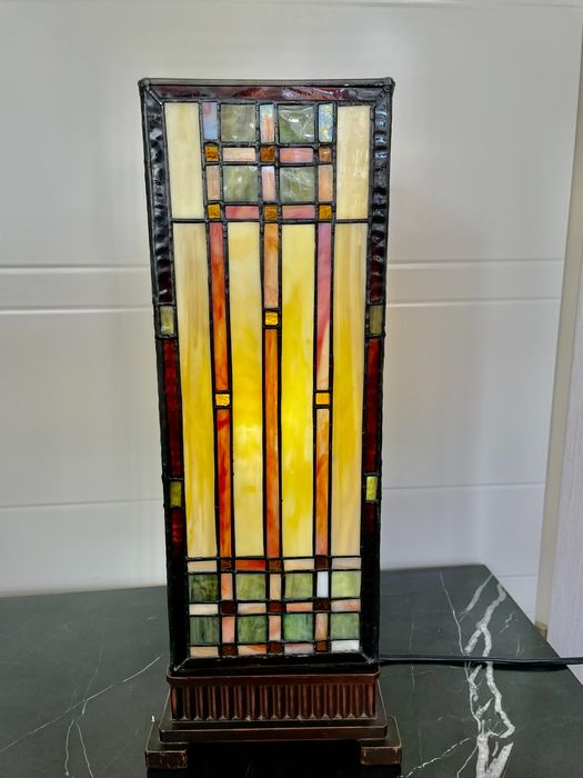 Art Deco Tafellamp - Tiffany style stained glass - Glas-in-lood, Koper