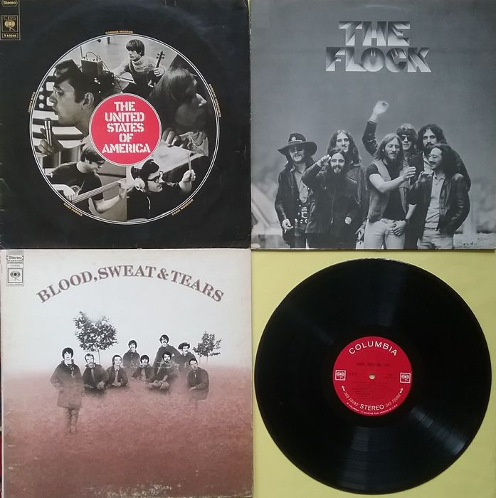Blood, Sweat & Tears, Flock, United States of America - 3 Self Titled psychedelic, jazzrock, experimental Columbia albums from the late sixties - Multiple titles - LP's - 1968/1981