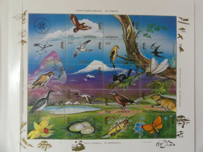 Des oiseaux - Collection of stamps, series and blocks in a stock book