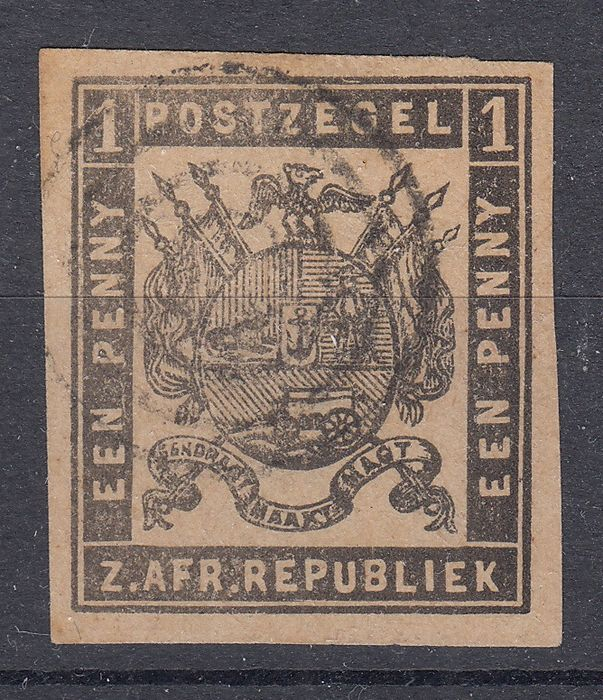 Transvaal 1870 - 1 d. nero imperforato stout paper - Stanley Gibbons 21