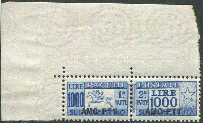 Triëst - Zone A 1954 - Little horse L. 1,000 with comb perforation, with wide sheet corner - Sassone N. 26