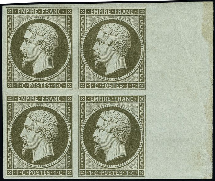 Frankreich 1860 - Napoleon III imperforate, 1 centime olive, block of 4. - Yvert 11