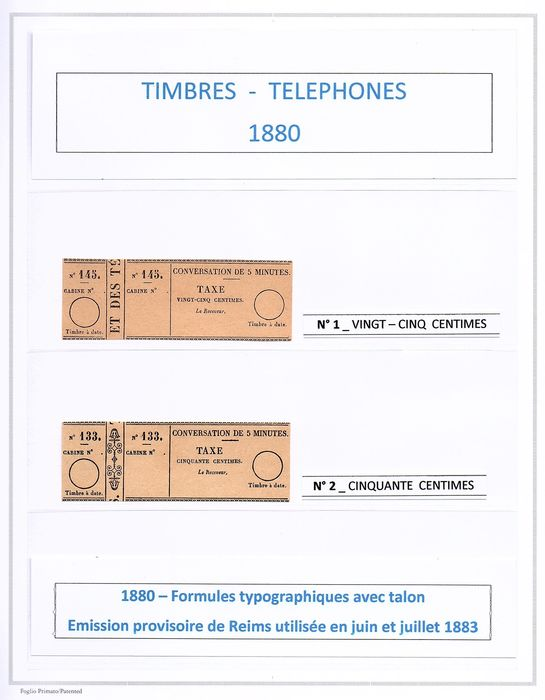 Frankrijk - Telephone stamps (1880 - 1906), a superb complete series, from No. 1 to 30, with particularities. - Yvert 2019