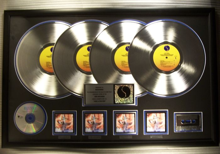 """Madonna - """"Like A Prayer"""" LP, Cassette, CD 4X Platinum Record Award Presented To Madonna - Official In-House award - 1997/1997"""