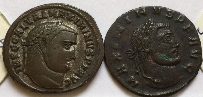 Roman Empire. Maximinus II (AD 311-313). Group of 2 Æ Folles - great quality, with original sales tickets,  Antioch & Thessalonica mints