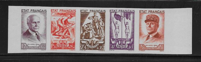 Frankreich 1943 - 576/580 series strip, imperforated - Yvert F580a
