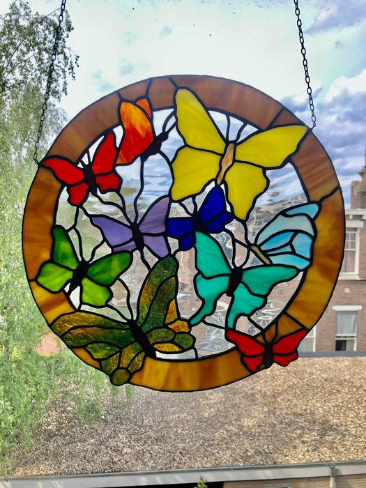 Beautiful stained glass 'Flinders' with Tiffany style - Glas-in-lood