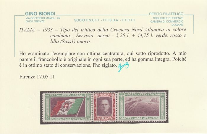 Königreich Italien 1933 - Air service Balbo triptych 50 l. State service, intact, rare and certified, no reserve - Sassone N.1