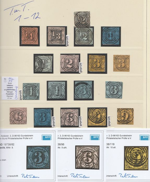 Thurn und Taxis 1852/1866 - Complete collection with 24 expertised values - Michel 1 - 54