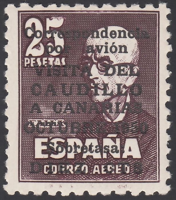 Spanje 1951 - 'Visita del Caudillo a Canarias' (Visit of Franco to the Canary Islands) with control number on the - Edifil 1090