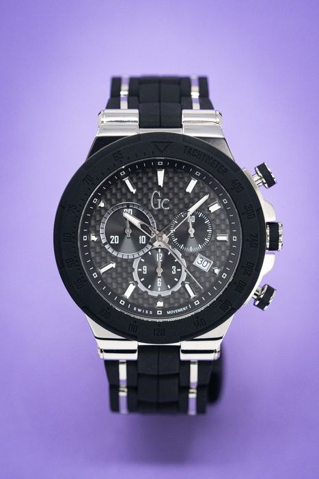 """Guess Collection - Structura Chronograph Black Silicone Strap - Y35003G2MF """"NO RESERVE PRICE"""" - Men - 2011-present"""