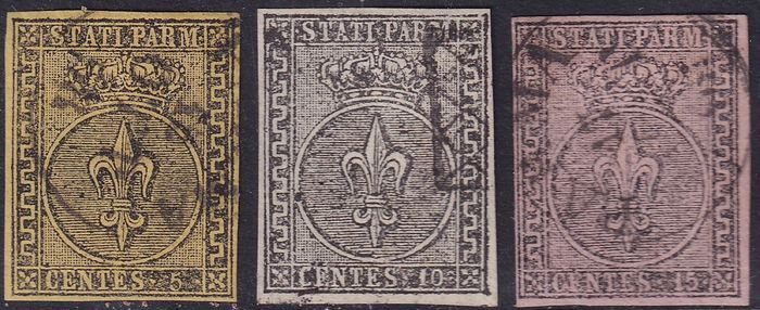 Italiaanse oude staten - Parma 1852 - 5, 10 and 15 cents used with good margins - Sassone N. 1 2 3