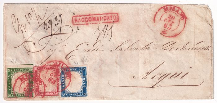 Royaume d'Italie 1863 - Mixed Sard. 4th issue 5 c. + Kingdom 40 c. + 15 c. on registered letter from Milan to Acqui very - Sassone SARD N.13D + REGNO N.3+11