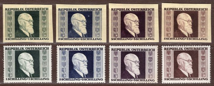 """Autriche 1946 - """"Renner"""" set from block + normal stamps - ANK 776-779,  780B-783B"""