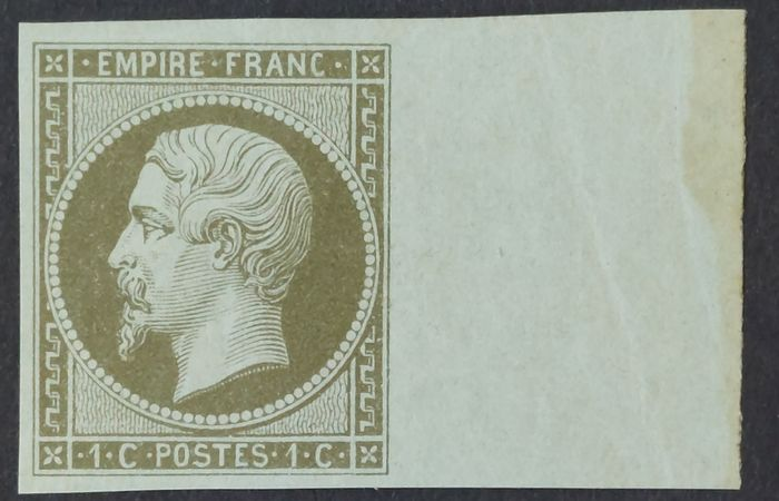 Frankreich 1860 - Napoleon III, imperforate, 1 centime olive. - Yvert 11