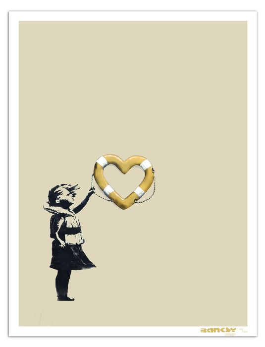 Banksy x Post Modern Vandal - Girl With Heart Shaped Float (Gold) - 2020