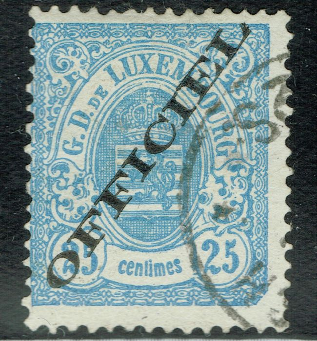 Luxemburg - 1878, Official stamp, Luxembourg Print, 25c blue, cancelled, Certified. - Scott O35