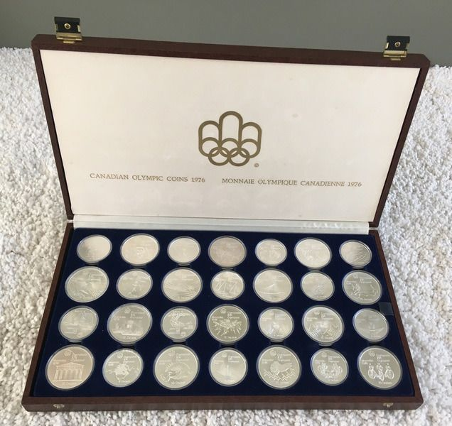 Canada. 5 + 10 Dollars 1973/1976 BU 'Olympic Games Montreal 1976' (28 pieces) complete