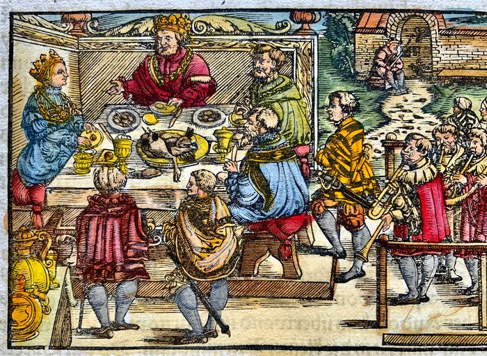 Heinrich Vogtherr (the Elder) (1490-1556) - Large folio with hand coloured woodcut - Medieval Feast with Musicians in Zurich in 1048 !! - First Edition - 1548 - 1548
