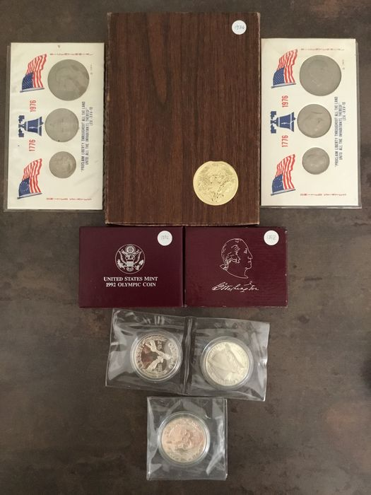 United States. Lot various coins and sets (12 items) incl. silver