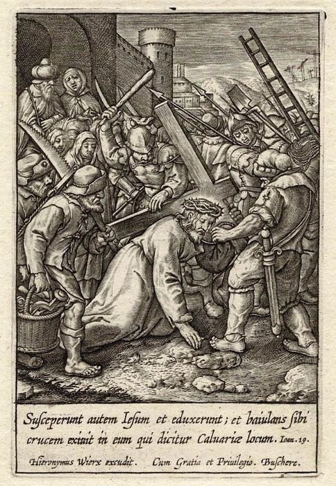 Hieronymus Wierix (1553-1619) - Christ carrying the cross.