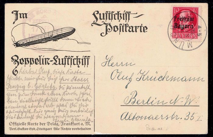"""Beieren 1919/1919 - Zeppelin airship """"Bodensee"""" postcard from the stopover in Munich - Sieger 19E"""