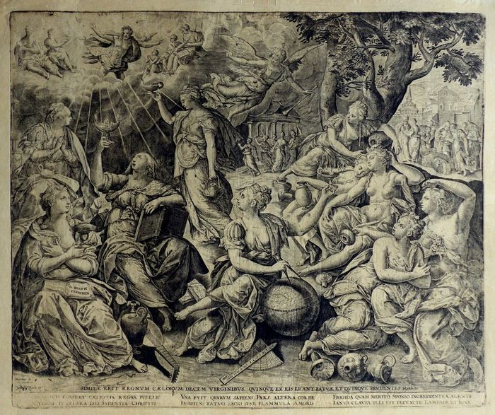 Marten De Vos (1532-1603) - The parabel of the wise and foolish virgins. Geography, faith, music,
