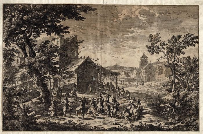 French 17th century etcher, region Perelle. - A violin player and dancing people at a tavern. An old game of skittles, bowling.