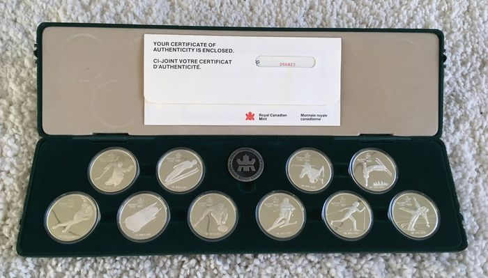 Canada. 20 Dollars 1985/1987 Proof 'Olympic Winter Games 1988' (10 pieces) in set