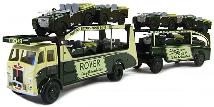 OXFORD COMMERCIALS - 1:76 - Very Rare Lot Land Rover Leyland Transporter + Trailer + 8 land rover