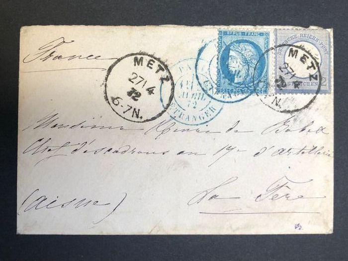 France - Letter FRANCE/German occupation 1872 DOUBLE FRANKING – 2 groschen, blue, and 25 centimes, blue, from
