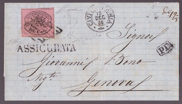 Italienische antike Staaten - Kirchenstaat 1867 - 80 cents bright lilac pink, isolated on insured letter from 1869, from Civitavecchia to Genoa. - Sassone N. 20a