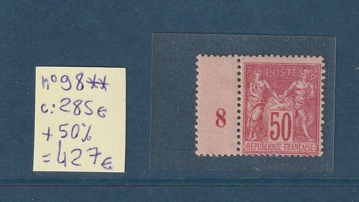 France 1890 - Classic type Sage, with vintage 8 (1898), incomplete. - Yvert n°98